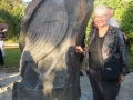 Charmaine with carved Matataa in Regional Park