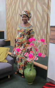 Lema with her crocheted Christmas Tree in the Ranui Library