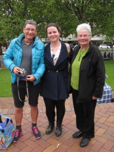 Chris, Willoughby and Charmaine outside Dunedin Town Hall